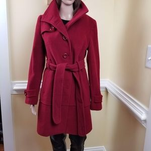 Kenneth Cole Reaction Womens Trench Coat Red  L